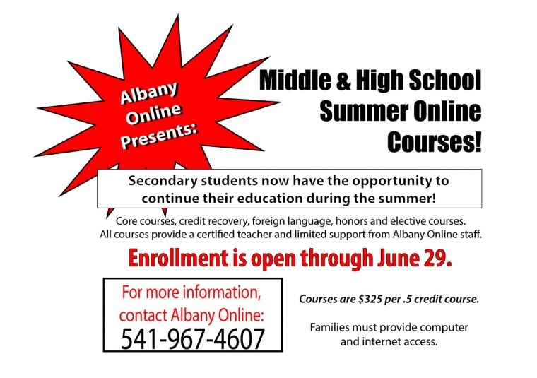 Students can enroll now for summer courses through Albany Online
